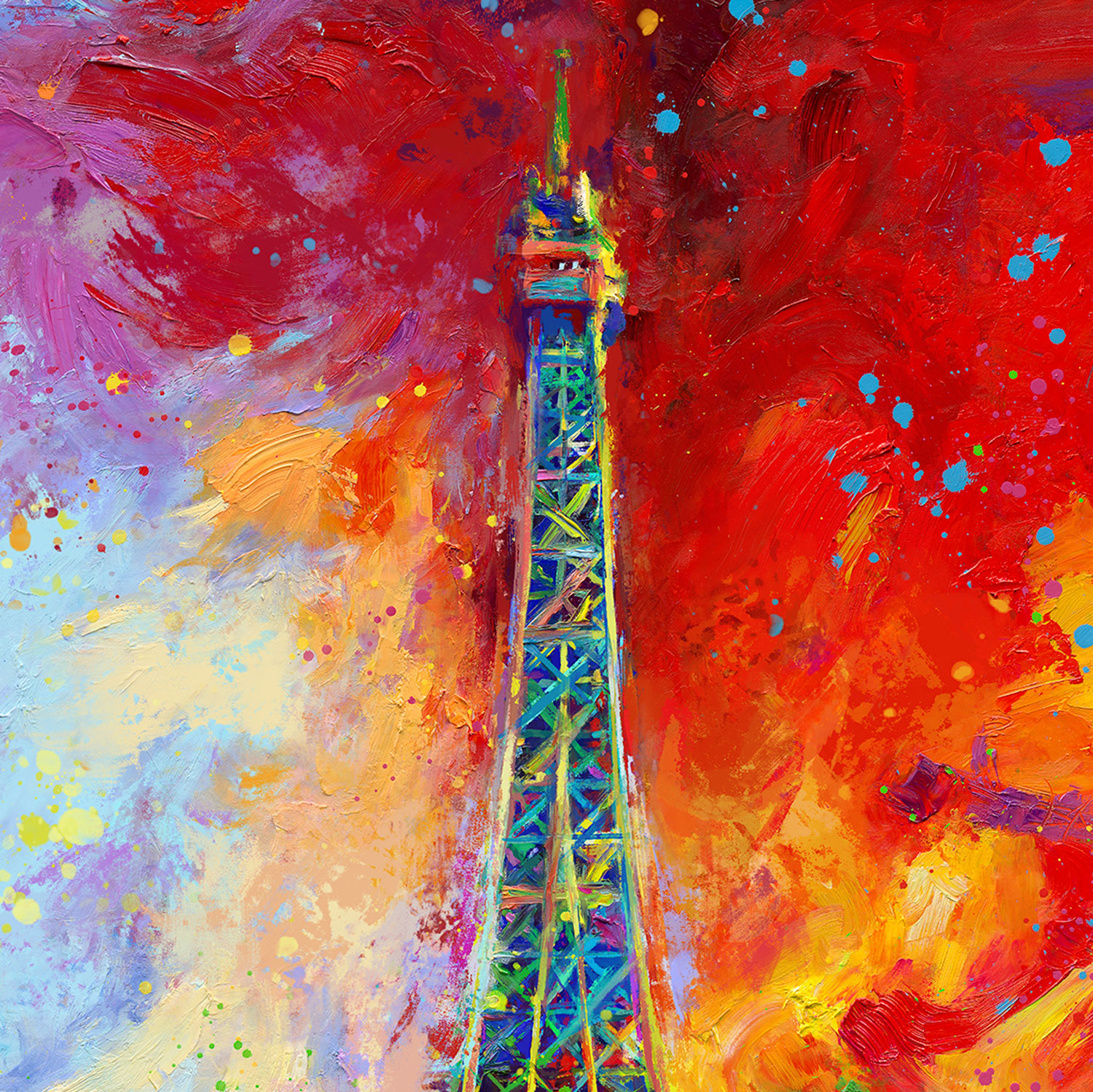 Paris Eiffel Tower by Artist Blend Cota 14 x 11 Gallery Wrapped Canvas