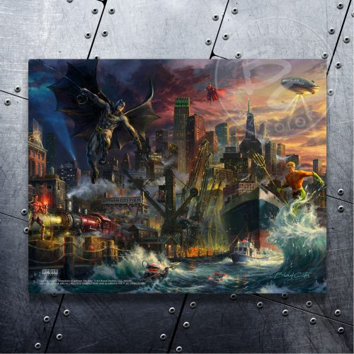 "Justice League Showdown at Gotham City Pier - 11"" x 14"" Floating Metal Print"